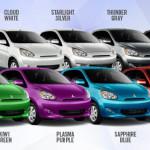 Mitsubishi Mirage 2014 Colours names